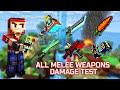 Pixel Gun 3D - ALL Melee Weapons Shots Damage