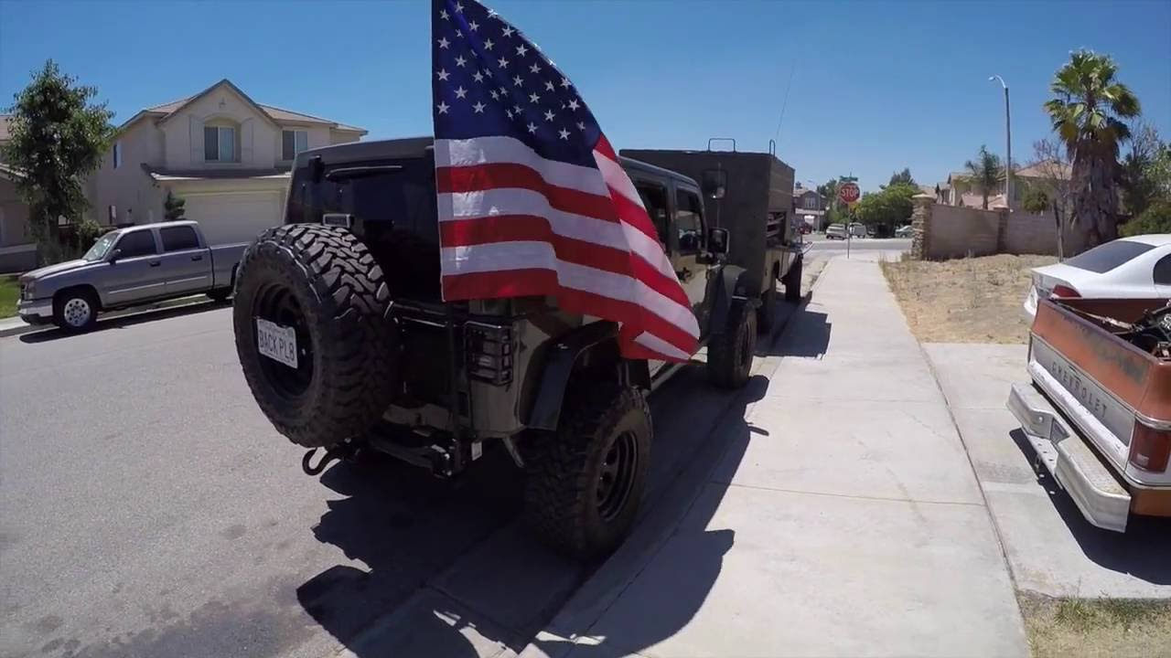 American Flag Mounted On Jeep Youtube