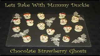 Lets Bake With Mummy Duckie-episode 5-chocolate Strawberry Ghosts