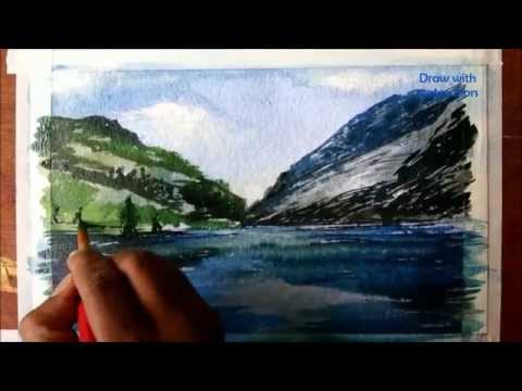 Painting a landscape with watercolors