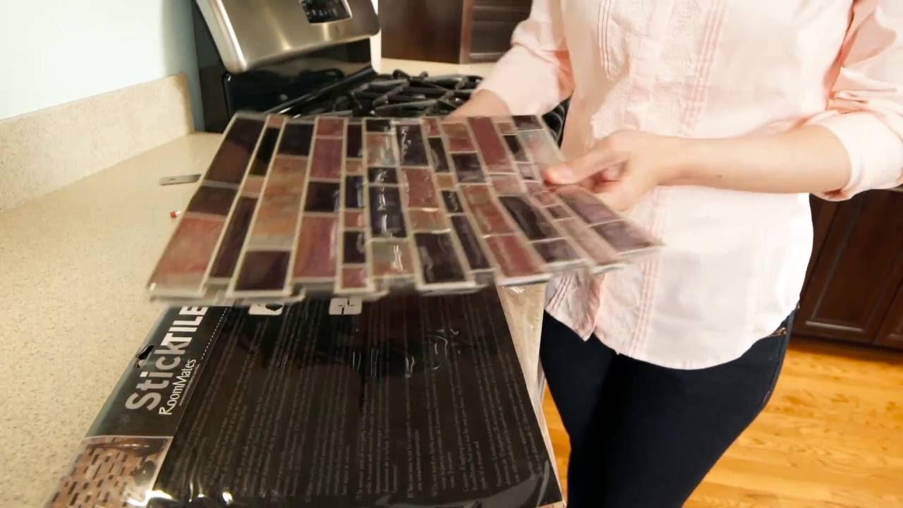 stick on backsplash tiles for kitchen cabinets how to install sticktile peel backsplashes in 5 minutes