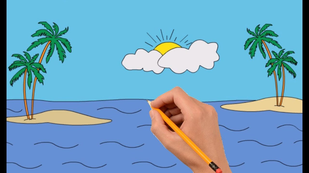How to Draw a Sea View With a Small Island   Coloring Book ...