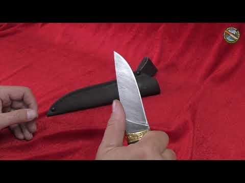 Нож Ласка (дамасская сталь), рукоять из дерева венге + латунное литье