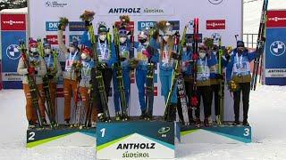 Российские биатлонистки выиграли эстафету на этапе Кубка мира в Антхольце.