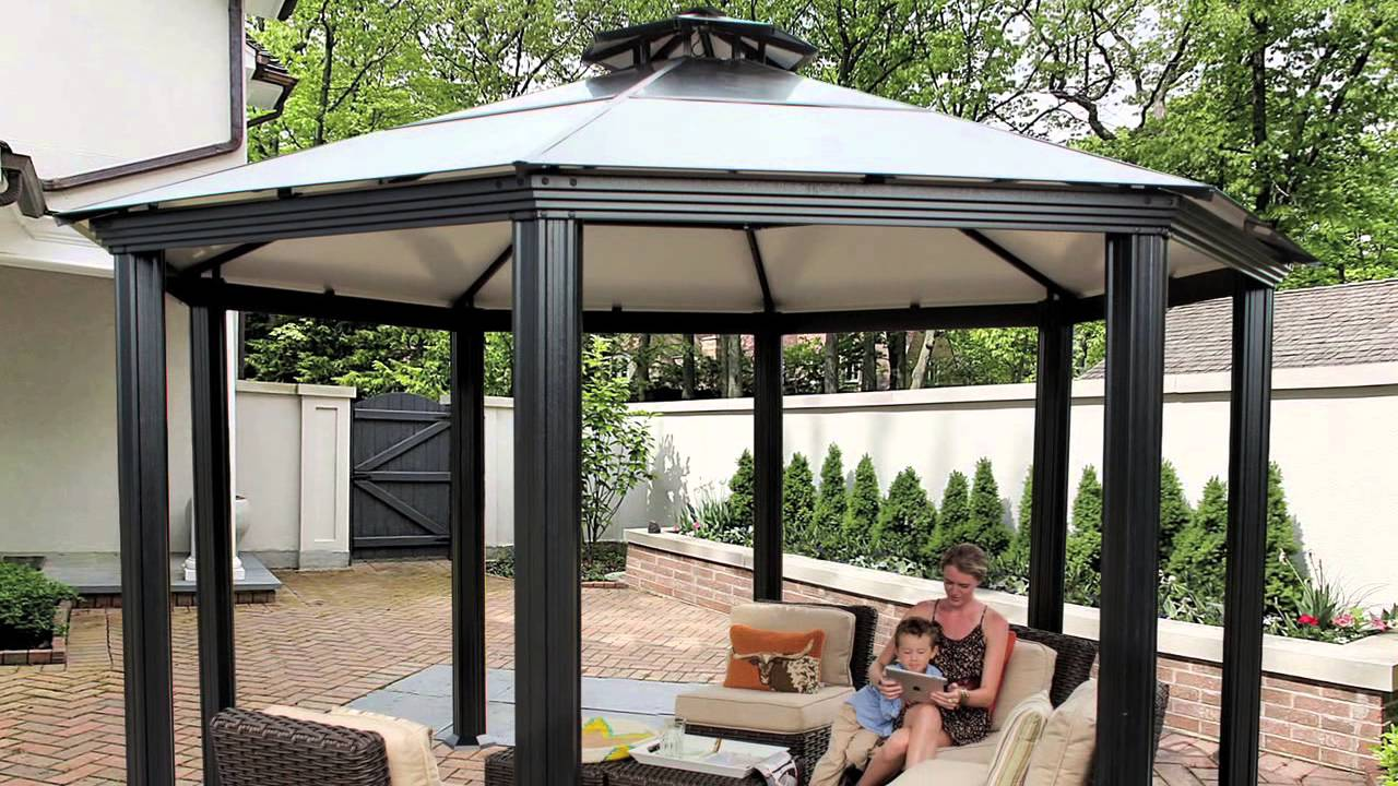 monte carlo octagonal 14 39 x 14 39 aluminum roof gazebo. Black Bedroom Furniture Sets. Home Design Ideas