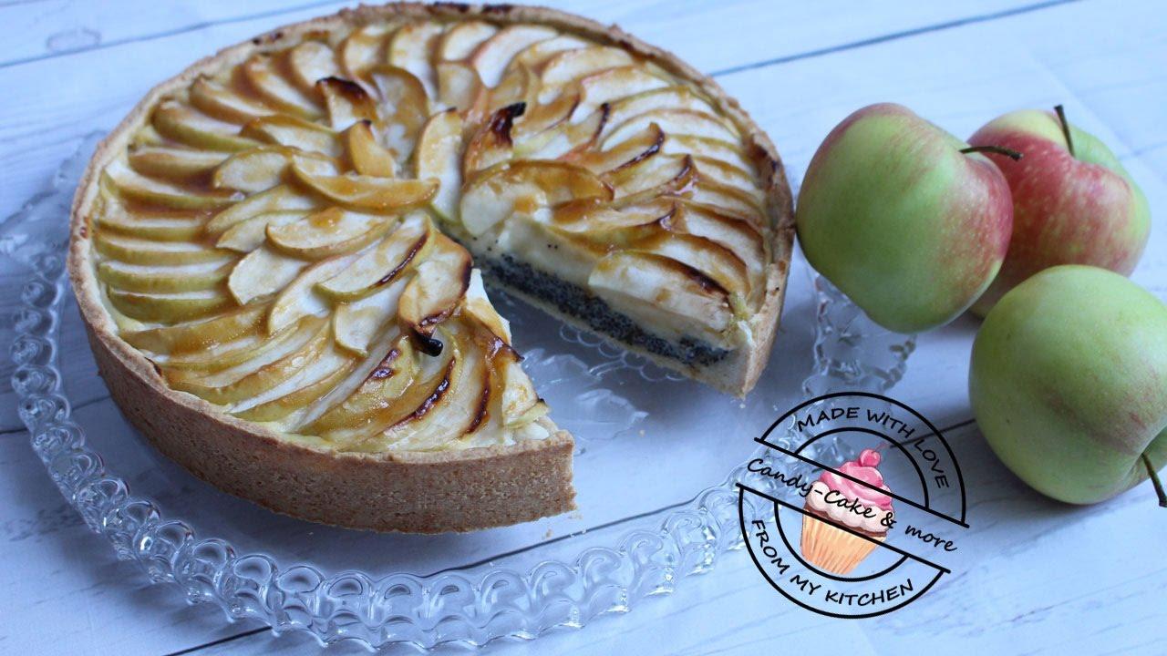 Apfel Mohn Kuchen Mit Vanillepuddingcreme I Apfelkuchen Youtube