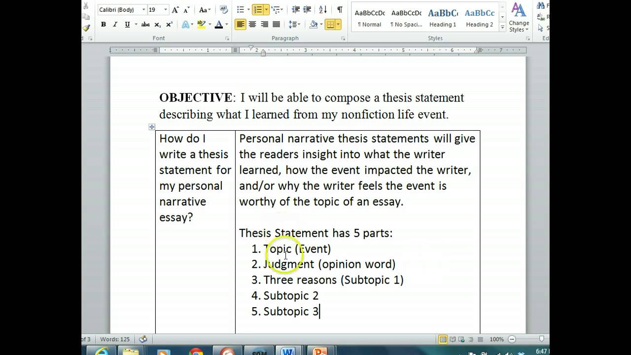 Thesis statement for personal narrative