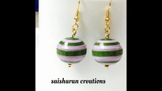 Paper Quilling beads earrings tutorial ||Sphere shape earrings