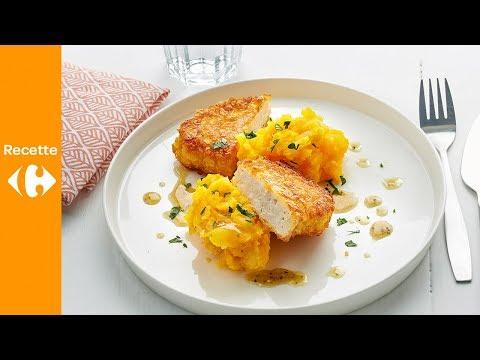 filet-de-poulet-pané,-purée-de-pommes-de-terre-et-butternut