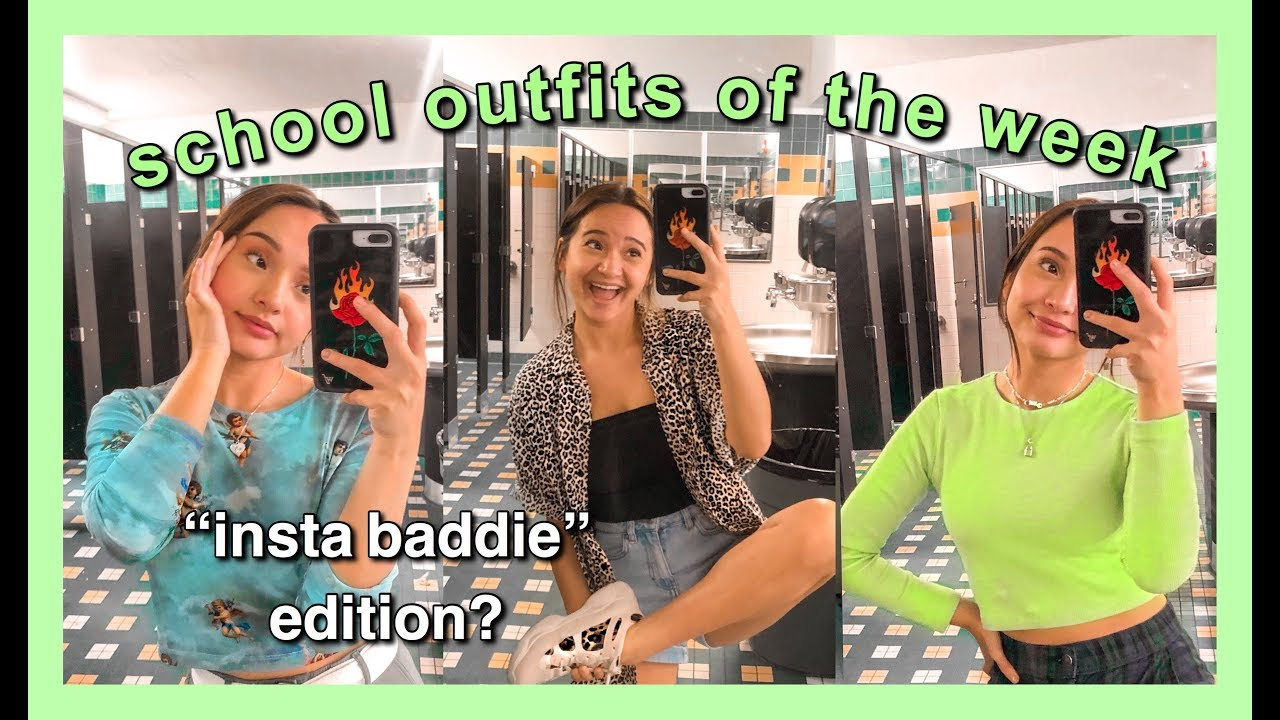 wearing trendy instagram baddie outfits to high school for a week| school outfits of the week 1