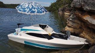 Mini electric boat review twin Hull Riviera custom 28lb Minn Kota powered