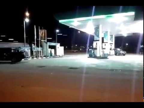 Epic shooting incident at petrol station