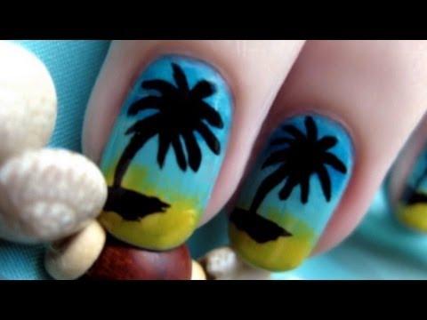 Paradise Palm Tree Nail Art | CutePolish | Disney Style