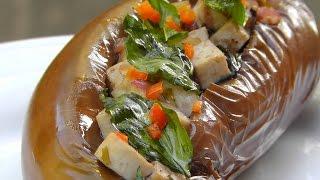 Vegan Vegetarian Thai Recipe: Ma Kheau Yat Sai - Stuffed Eggplants With Tofu