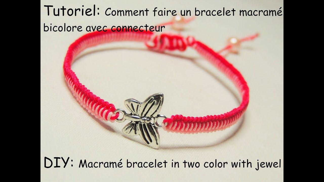 Faire un bracelet macram bicolore avec connecteur diy macram bracelet in t - Macrame pour debutant ...