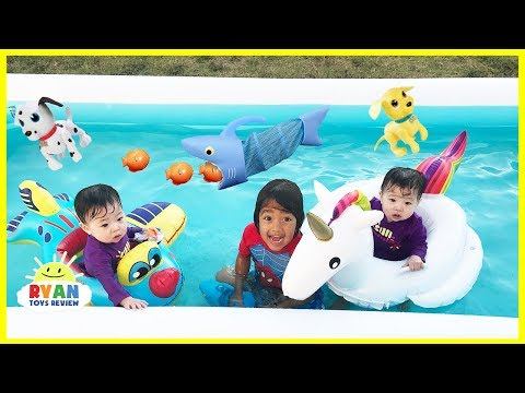 Thumbnail: FAMILY FUN KIDS POOL PARTY with Giant Inflatable Float for Children and Bubbles Machine
