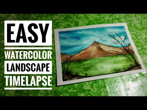 Easy Watercolor Landscape Timelapse | Philippines