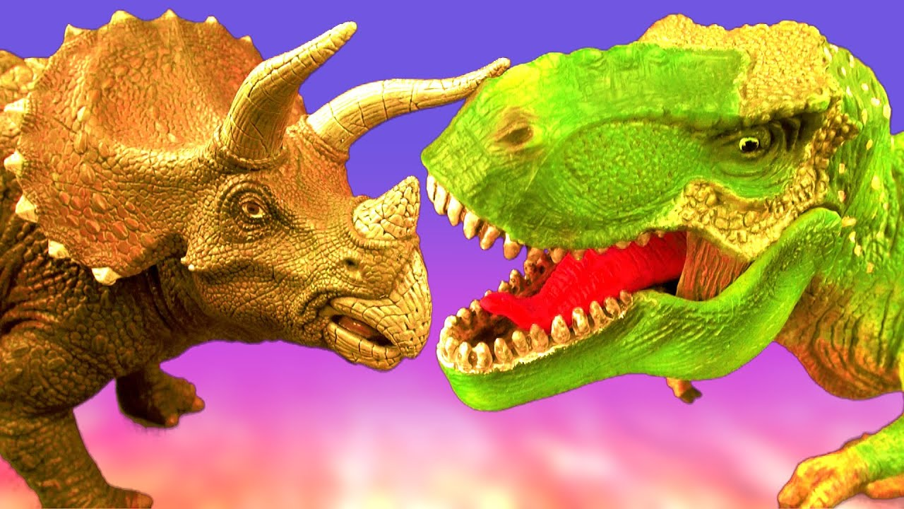 Dinosaur Fight TRICERATOPS vs TYRANNOSAURUS Battle T rex ... T Rex Vs Triceratops Fighting