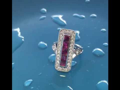 Ruby Antique Platinum  Ring