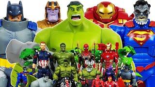 Hulk & Hulkbuster vs Thanos! Avengers Go~! Spider-Man, Iron Man, Captain America, Superman, Batman,