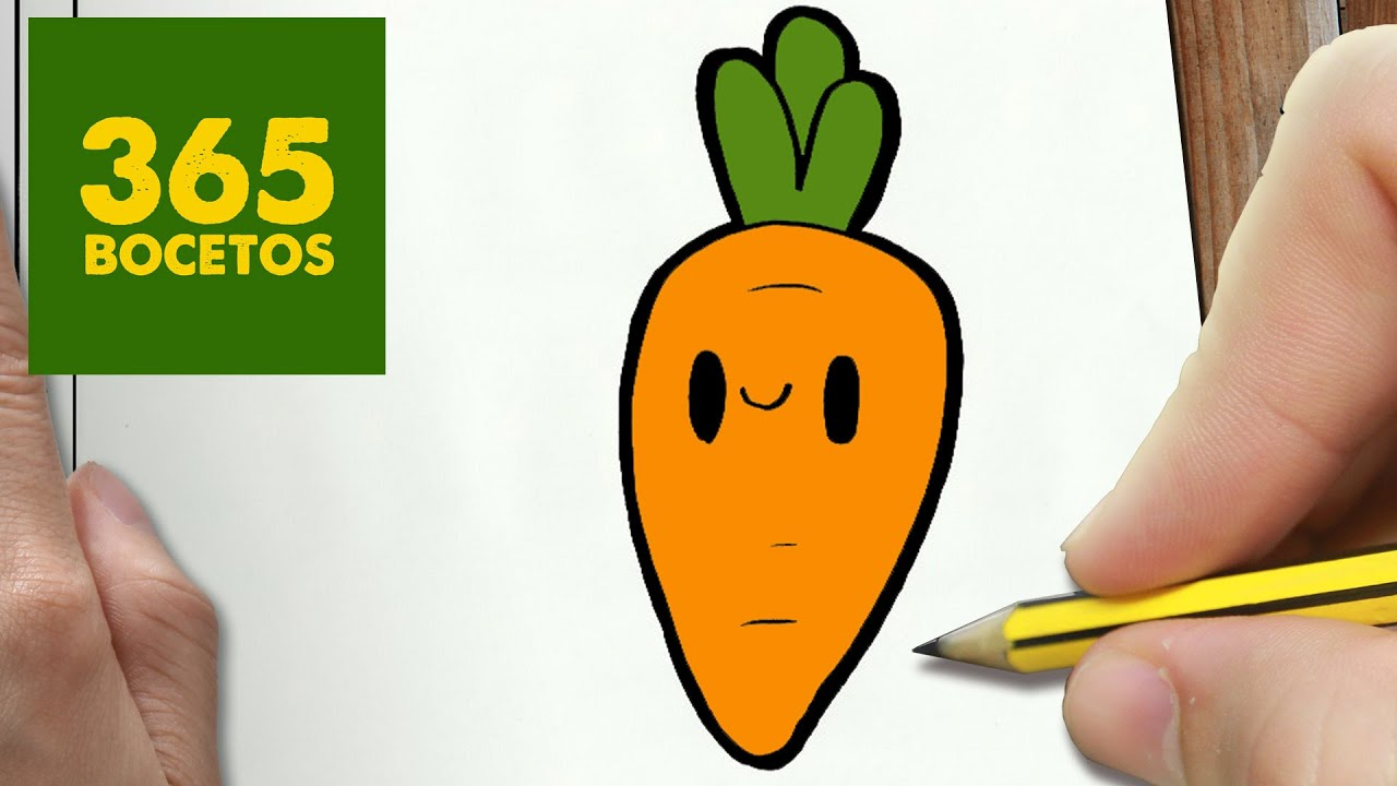 COMO DIBUJAR ZANAHORIA KAWAII PASO A PASO , Dibujos kawaii faciles , How to  draw a CARROT , YouTube