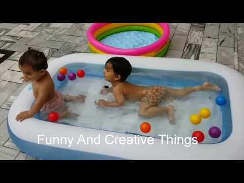 swimming pool with balls || Babies love swimming underwater