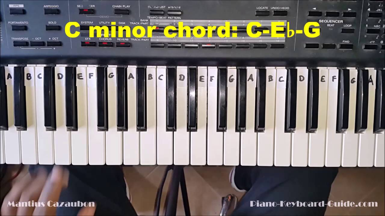 How to play the c minor chord on piano and keyboard cm cmin youtube hexwebz Images