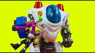 The Joker & Bane capture Imaginext police officer Batman Batbot saves them Just4fun290 dc superhero