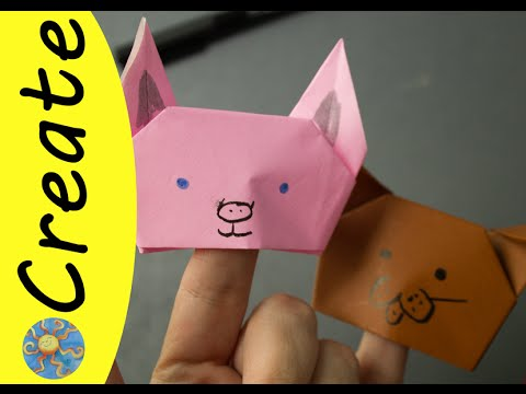 How To Make Origami Finger Puppets Dog Pig Youtube