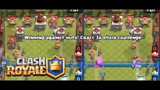 [Clash Royale] Winning against huts in triple elixir challenge! INFINITE SPAWNERS!