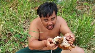 Survival skills:find chicken  by hand  - burn with cabbage eating delicious #27