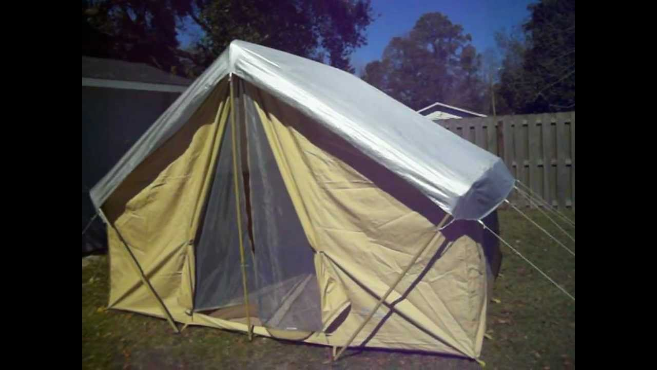 Trek tents 245c 9 x 12 canvas wall tent youtube for How to make a canvas tent