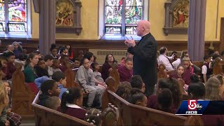 Church service comforting kids affected by gas disaster