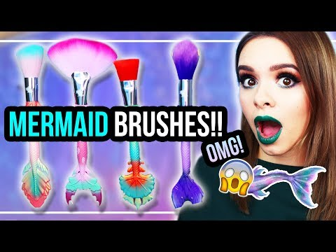 OMG 😍 MERMAID BRUSHES!! 💦 Review & Demo – Meerjungfrauenpinsel – #24DaysOfChristmas