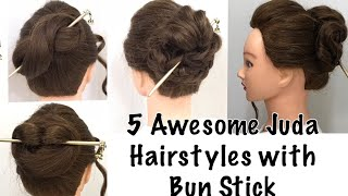 5 Awesome Bun hairstyle with Bun stick | Hairstyles for Summer