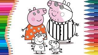 Peppa Pig - Świnka Peppa rodzina | Małych Rączek Kolorowanka dla Dzieci