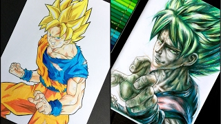 ( GOKU SUPER  SAIYAN ) - $21 Vs. $210 Colour pencils - How Do I Draw