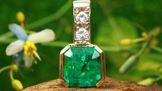 6.30tcw 18K Colombian Emerald & Diamond Necklace, Emerald Pendant, Muzo Emerald