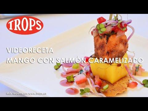 Videoreceta Compacto de Mango TROPS con Salmón Caramelizado y Fresa Aliñada