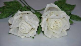 Цветы из бумаги - Белые розы своими руками MK(Розы из гофрированной бумаги.Инструкция на русском языке., 2014-05-29T16:01:28.000Z)