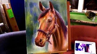 Юра Цупер. Рисунок коня маслом