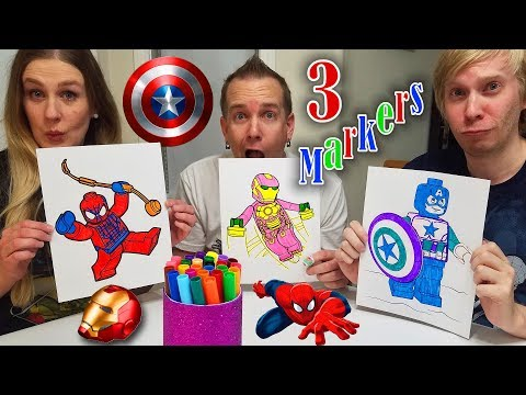 3 Marker Challenge Coloring LEGO Superheros!!! Spiderman, Iron Man, and Captain America!