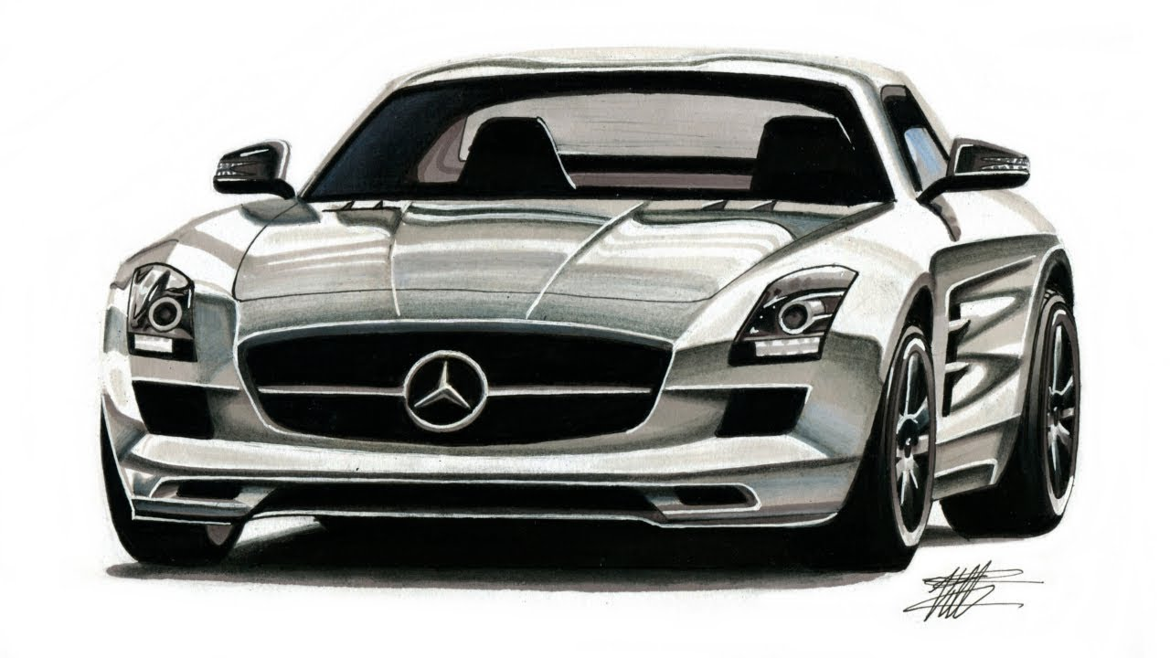 Realistic Car Drawing Mercedes Benz Sls Amg Time Lapse Youtube