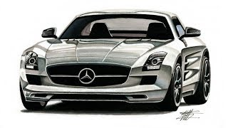Realistic Car Drawing - Mercedes Benz SLS AMG - Time Lapse