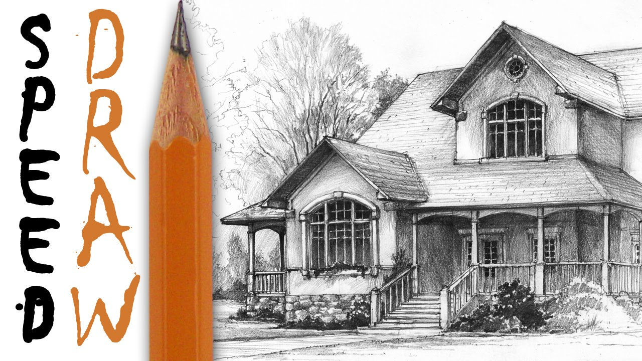 How to draw a house architecture speed drawing youtube for Architecture house drawing