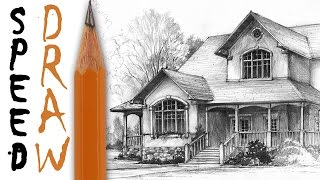 How to draw a house - architecture speed drawing