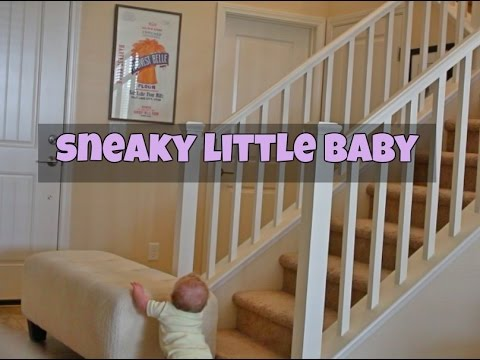 Baby Moves Stair Barricade Sneaky Baby Youtube