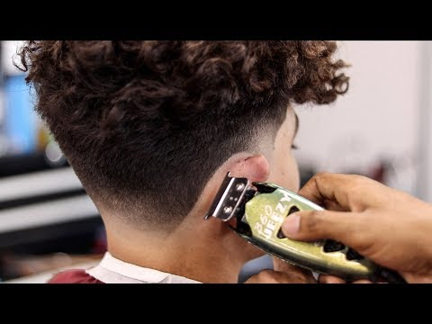 Mens Long Curly Hair Taper Fade Haircut Tutorial