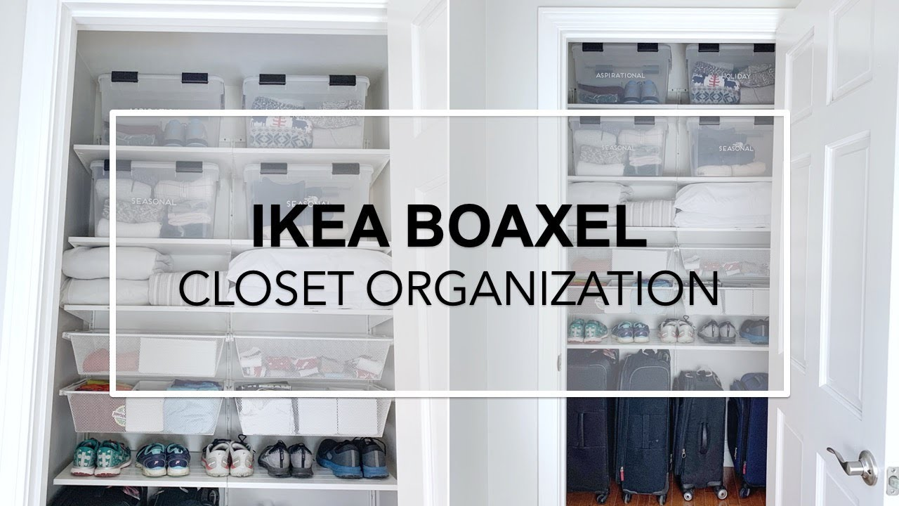 CLOSET MAKEOVER Installing Ikea Boaxel System – luggage, running gear,  linens & seasonal clothing