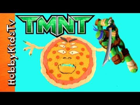 Pizza Monster SPITS Out TMNT Surprise Toys! Play-Doh Fun w/Teenage Mutant Ninja Turtles HobbyKidsTV
